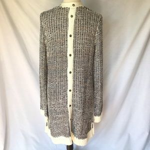 BKE Sweaters - BKE Black Cream Reverse Cardigan with Grommets XL